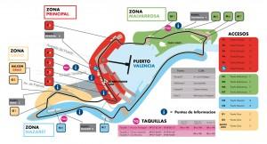Mapa de accesos al Valencia Street Circuit F1 GP de Europa 2012
